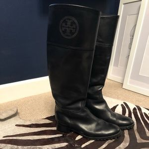 Tory Burch black leather riding boots size 7